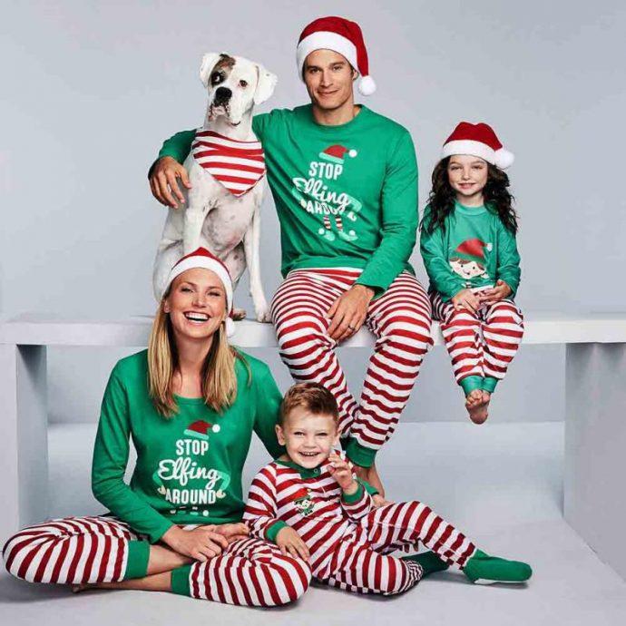 Стильная домашняя одежда к Новому году для всей семьи
