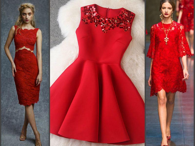 5 готовых образов с красным платьем на Новый год