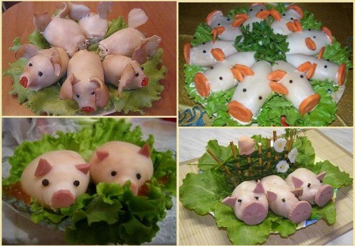 Новогодние закуски в виде свинок
