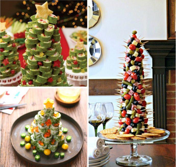 Оформление фруктовой нарезки и закусок в виде новогодней елок