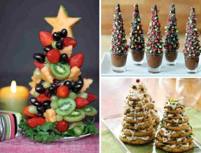 Оформление новогодних десертов в виде елок