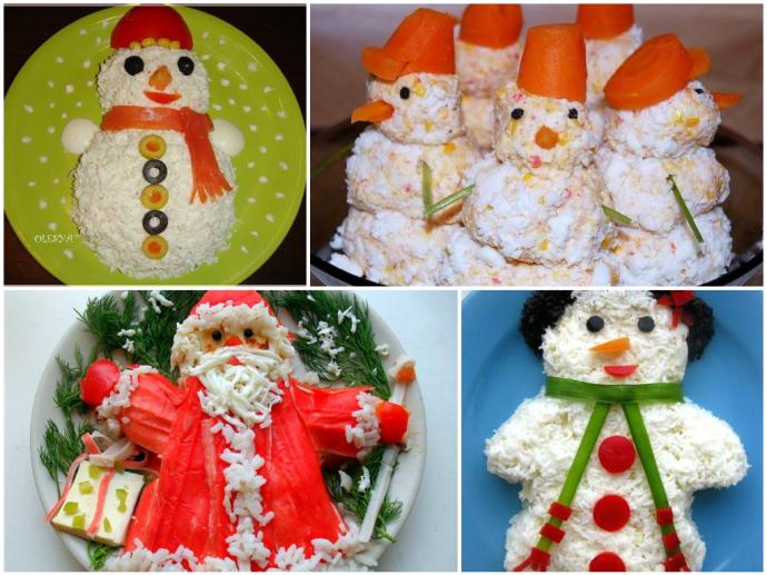 Оформление новогодних салатов и закусов в виде снеговиков