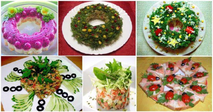 Варианты оформления новогодних салатов и закусок