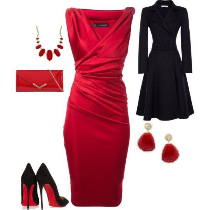 Готовый образ с красным платьем на Новый 2019 год