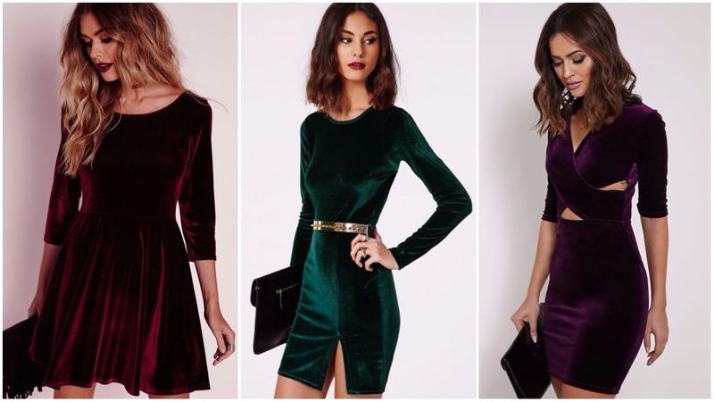 5 готовых образов с бархатным платьем на Новый 2019 год