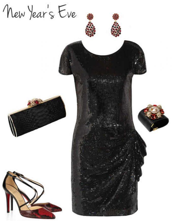 Образ с платьем на Новый год