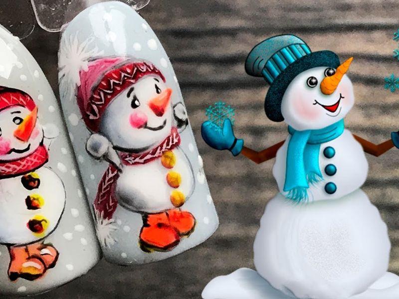 25 идей забавного зимнего маникюра со снеговиками