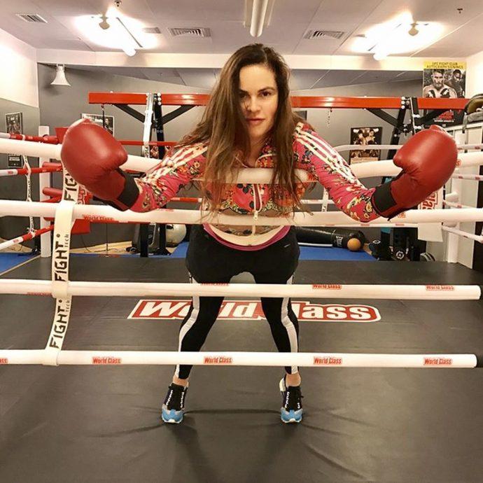 Екатерина Андреева в зале для бокса