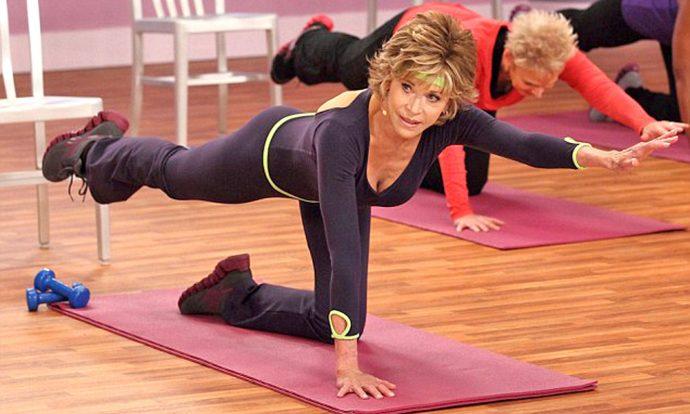 Джейн Фонда занимается спортом