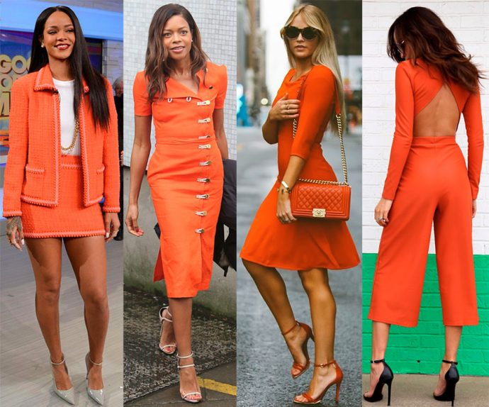 Девушки в одежде цвета «живой коралл»