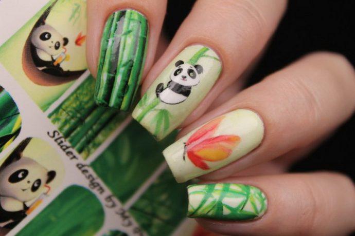 Дизайн ногтей с пандами