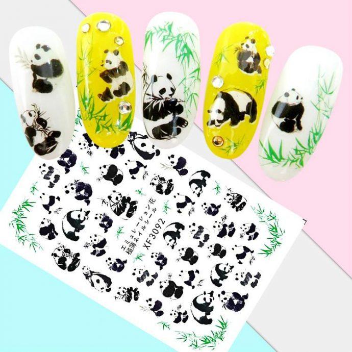 Наклейки с пандами для маникюра