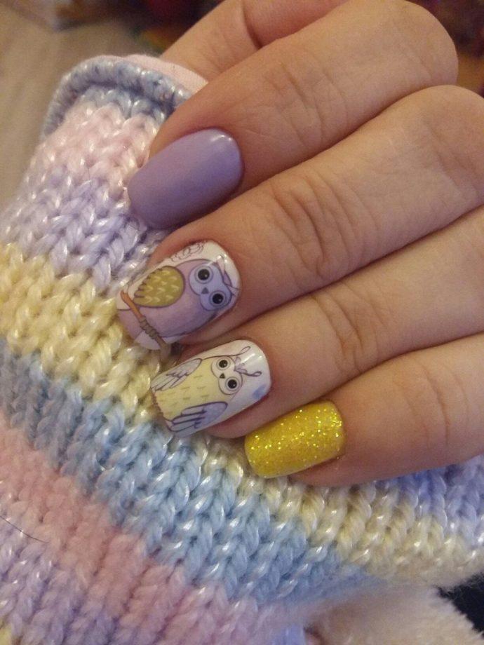 Лавандовый маникюр с совами