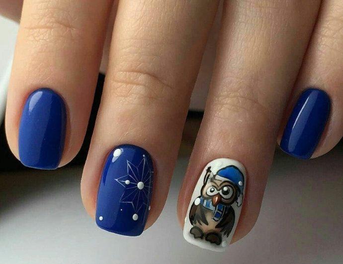 Синий маникюр с совами