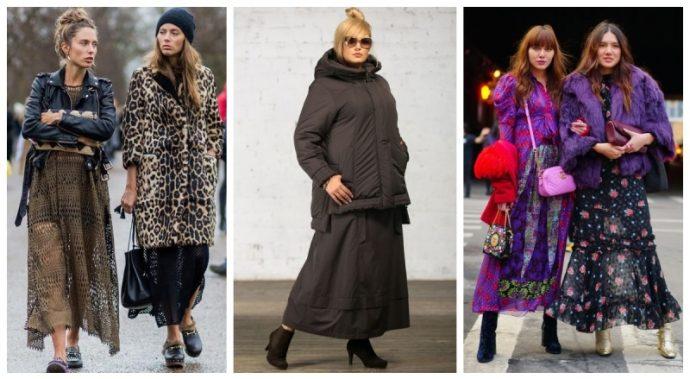 3 варианта длинных юбок на зиму из разных материалов