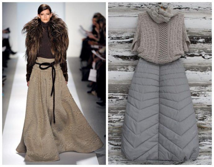 Шерстяная и болоньевая юбки