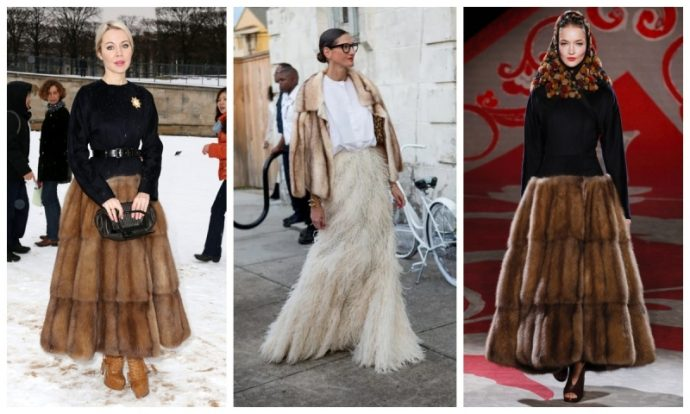 Образы с меховыми юбками