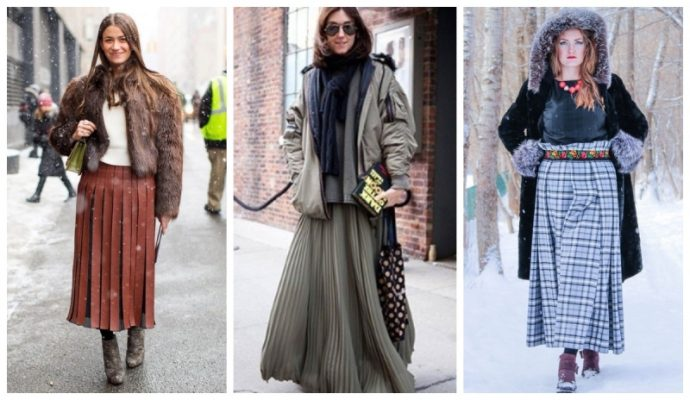 Плиссированные юбки с мелкими и крупными складками
