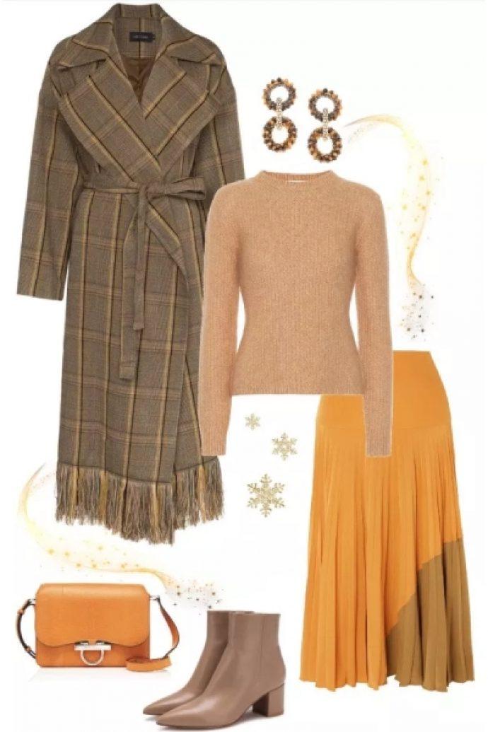 Зимний лук с длинной юбкой-солнце