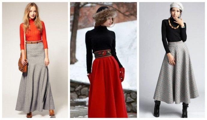 Удачные распределение акцентов в образах с длинными юбками