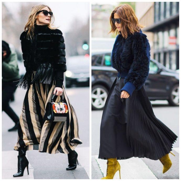 Сочетание длинной юбки и высоких каблуков