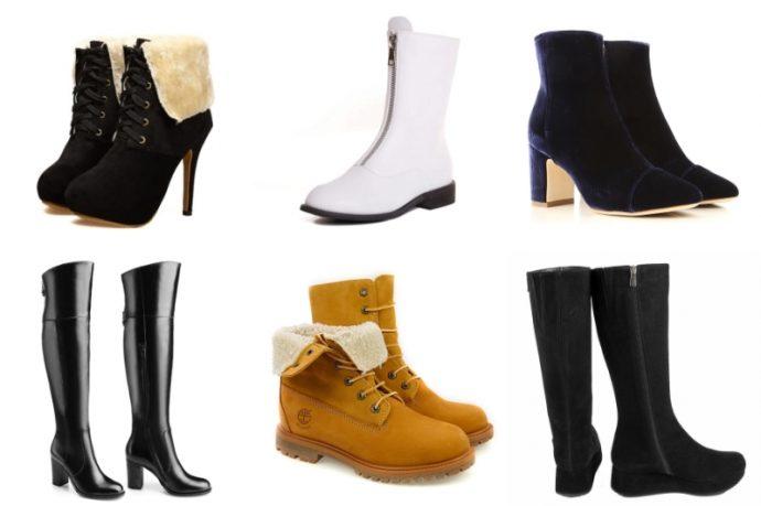 Разные виды зимней обуви