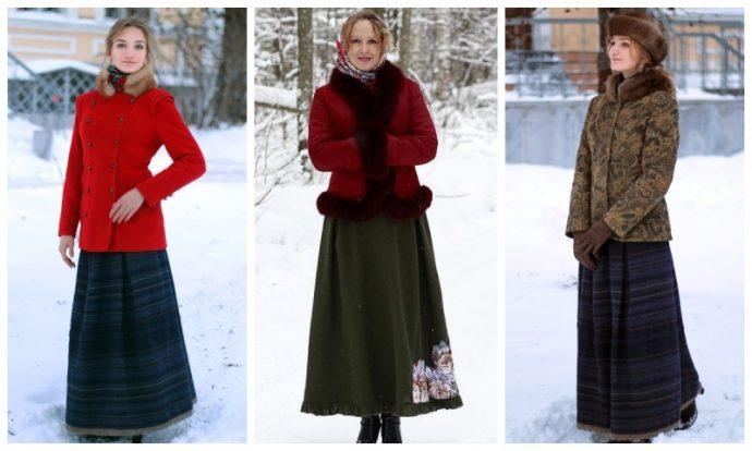 3 модных образа с коротким пальто и длинной юбкой
