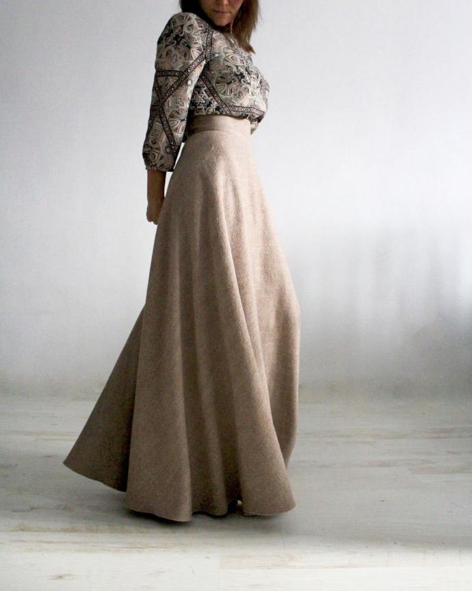 Длинная юбка из шерсти