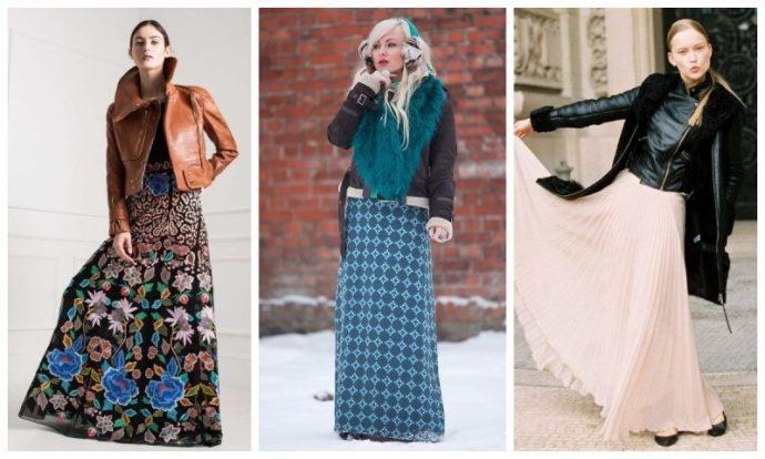 Как можно носить длинную юбку с дублёнкой: 3 варианта