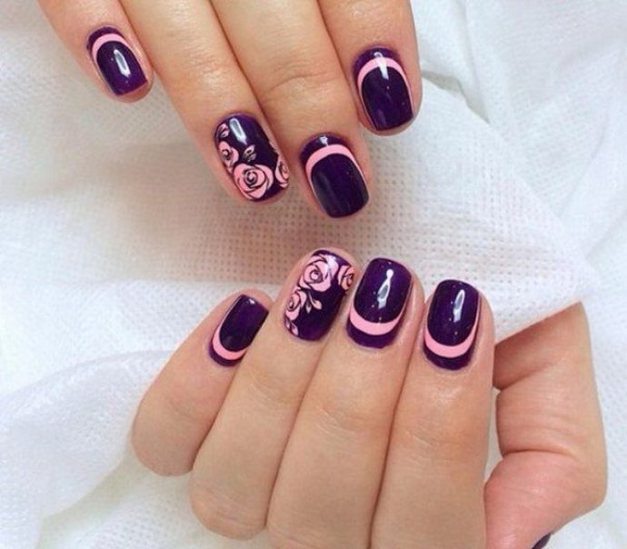 Сочетание фиолетового и розового в маникюре