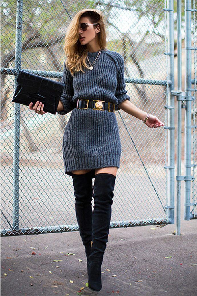 Образ с платьем и ботфортами