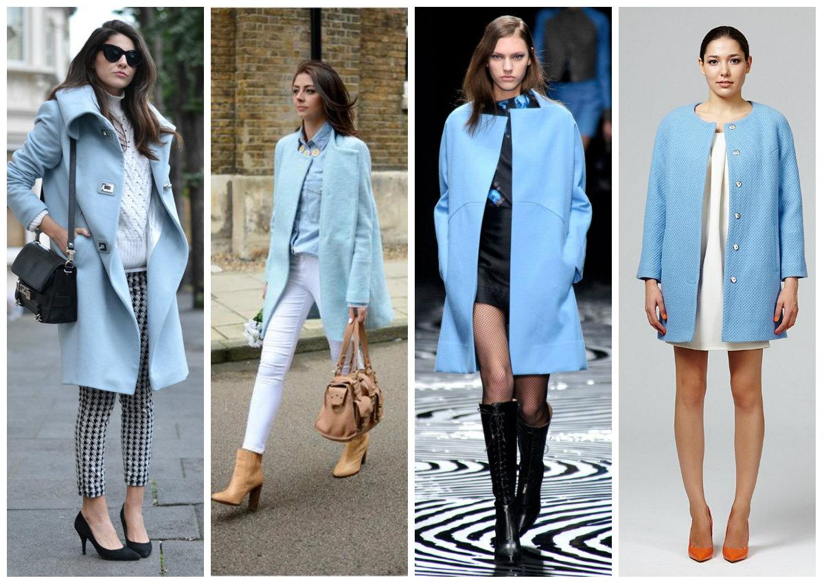 С чем носить голубое пальто: модные сочетания и образы