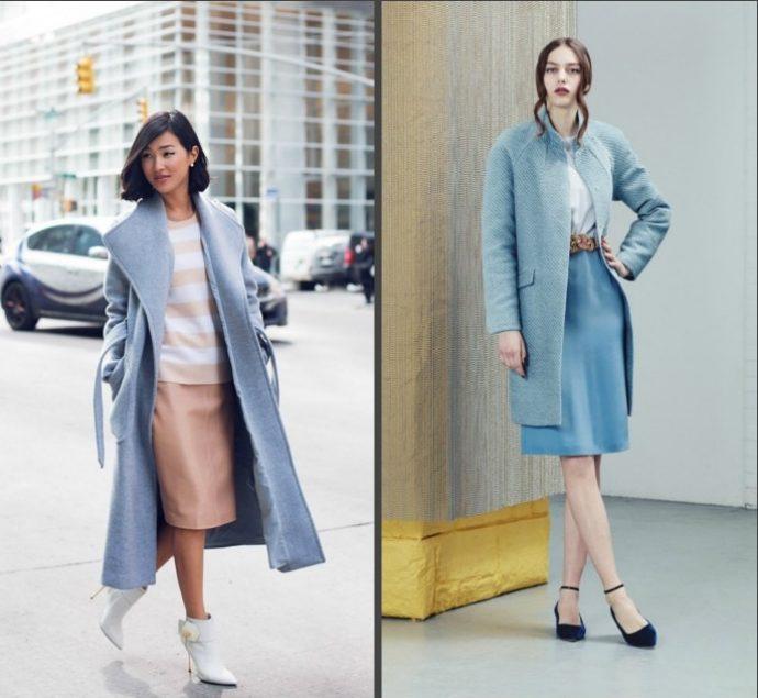 Девушка в пальто голубого цвета