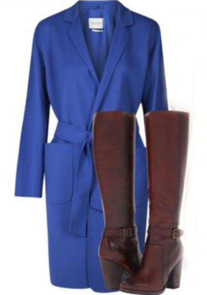 Сочетание предметов гардероба с сапогами бордового цвета