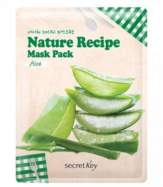 Корейская маска для лица Secretkey Nature Recipe Aloe
