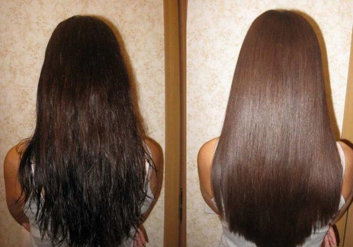 Волосы до и после применения желатиновой маски
