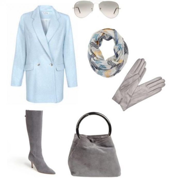 Образ с пальто голубого цвета