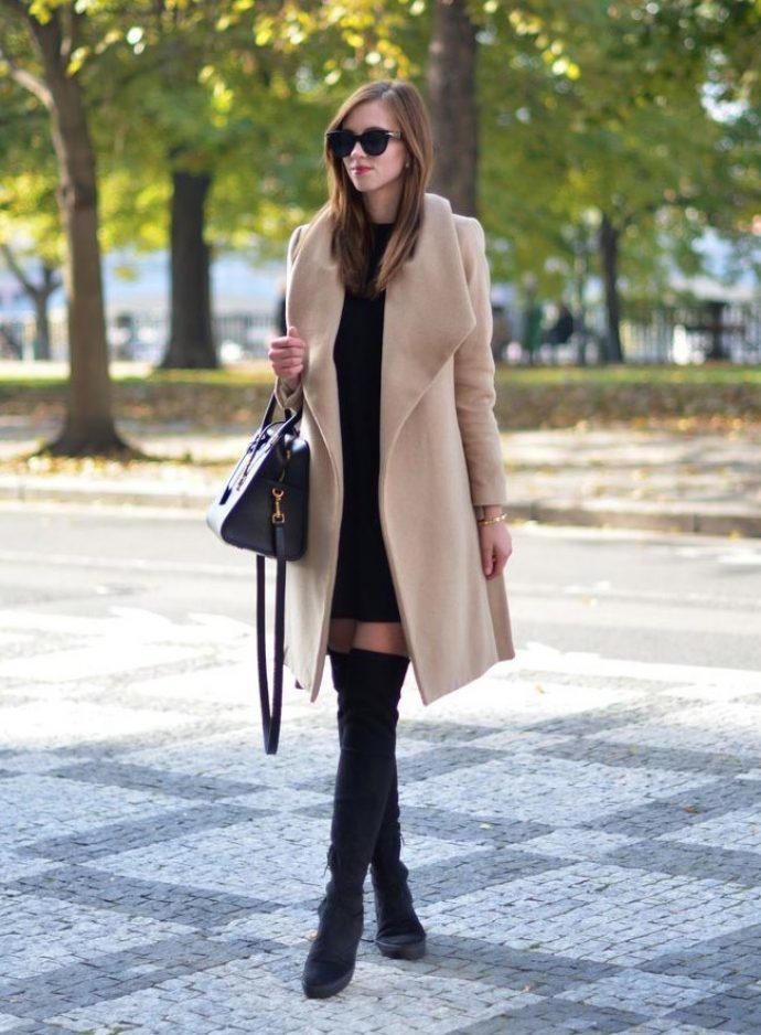 Образ с пальто и ботфортами