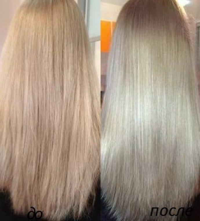 Волосы до и после применения кокосовой маски