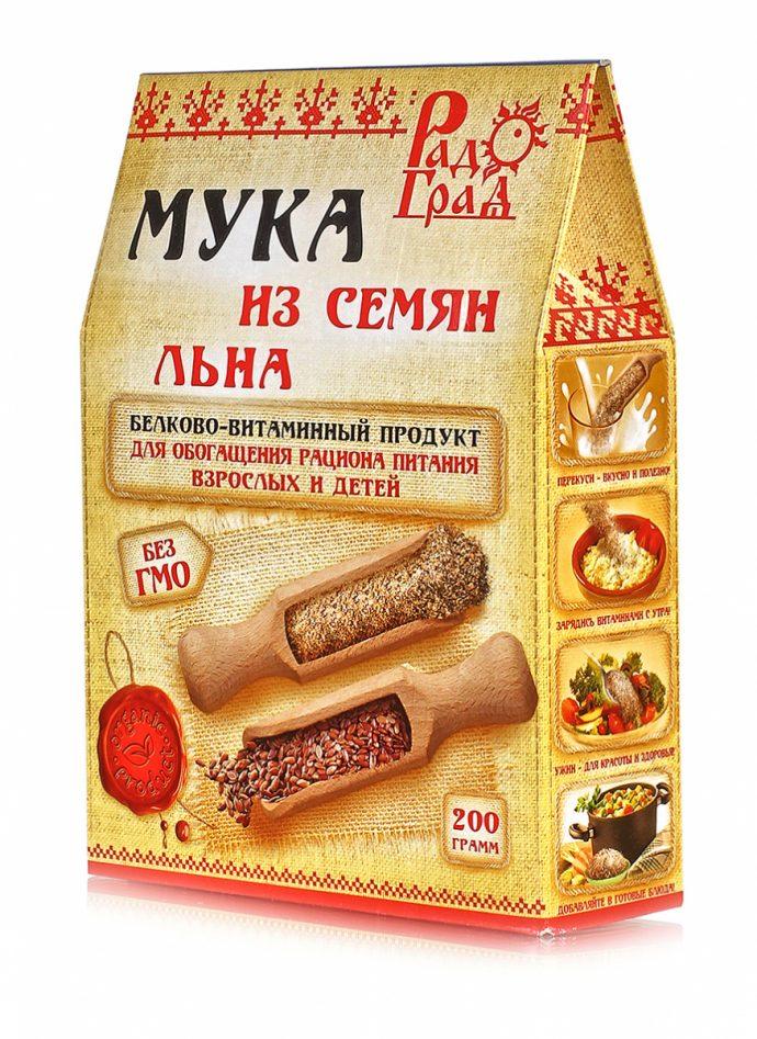 Мука из семян льна в упаковке