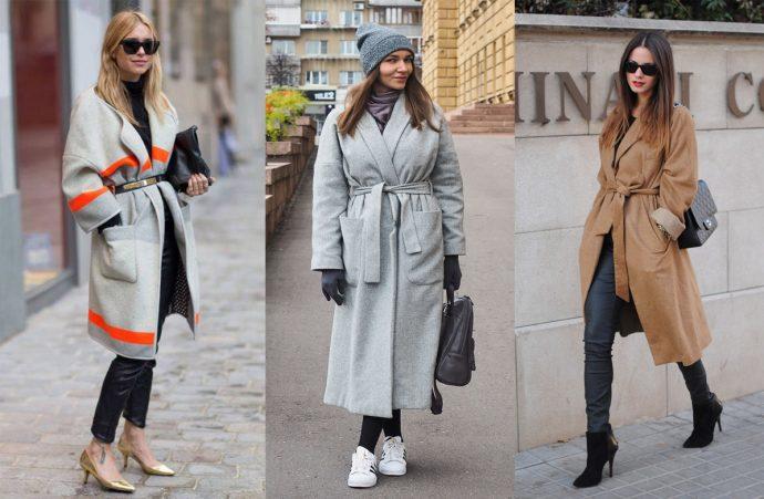Варианты образов с пальто-халатами
