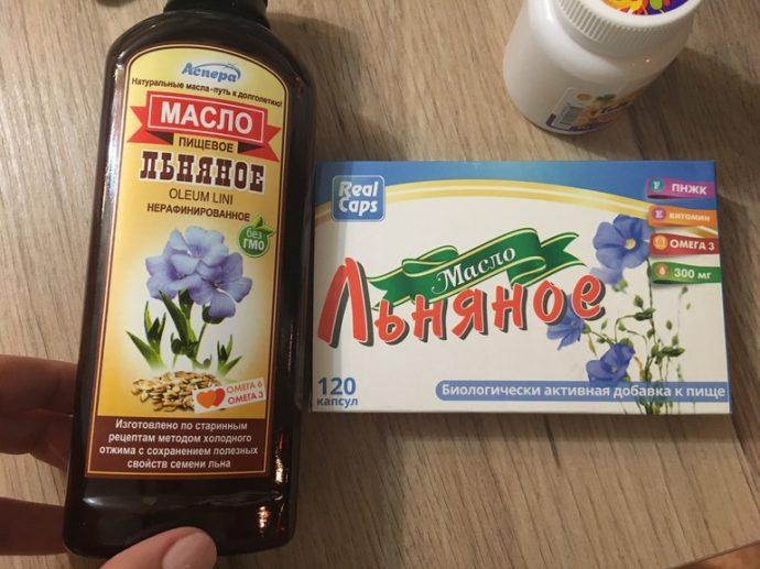 Флакон и капсулы льняного масла