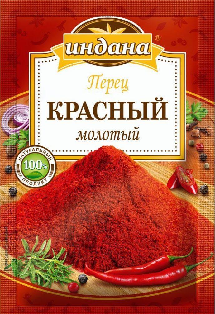 Красный молотый перец чили в упаковке