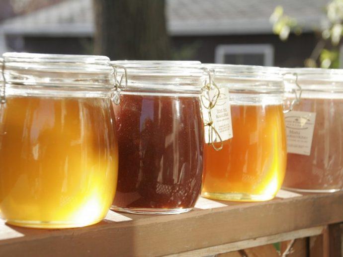 Разные сорта мёда в прозрачных банках