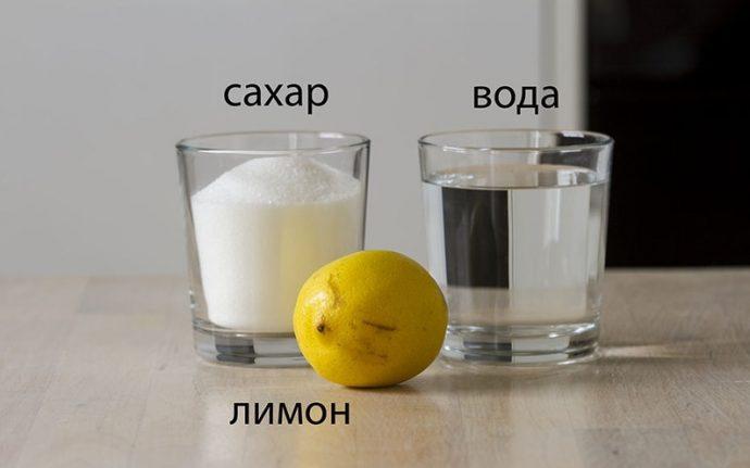 Вода, лимон, сахар