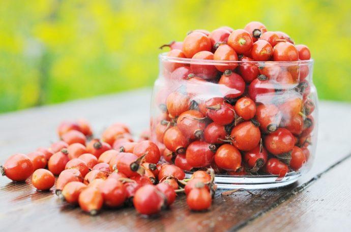 Сухие ягоды шиповника в прозрачной банке