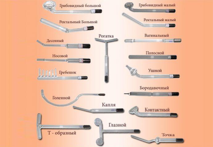 Различные виды насадок дарсонваля