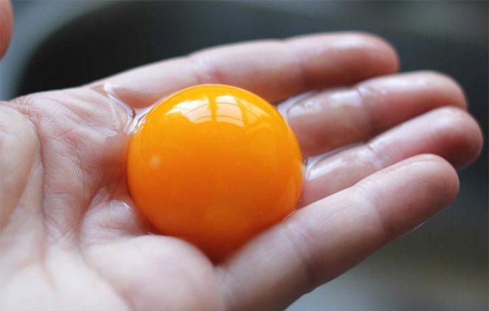 Яичный желток в руке