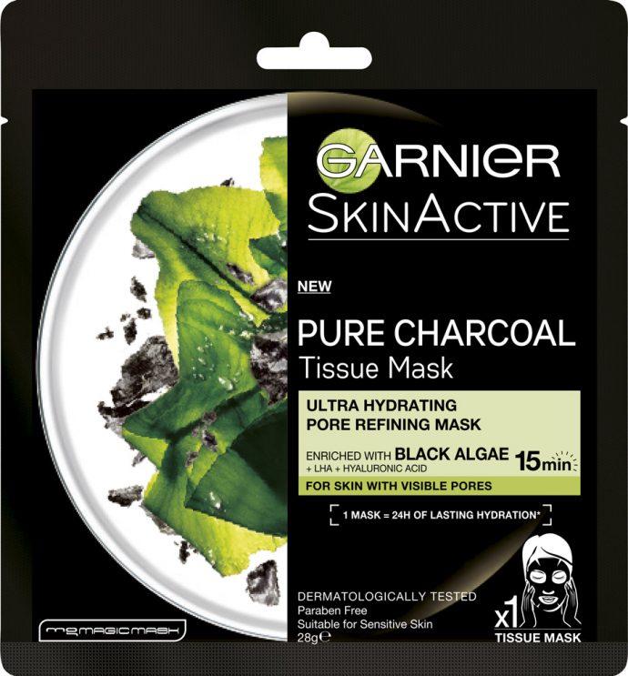 Тканевая маска для лица Garnier Очищающий уголь