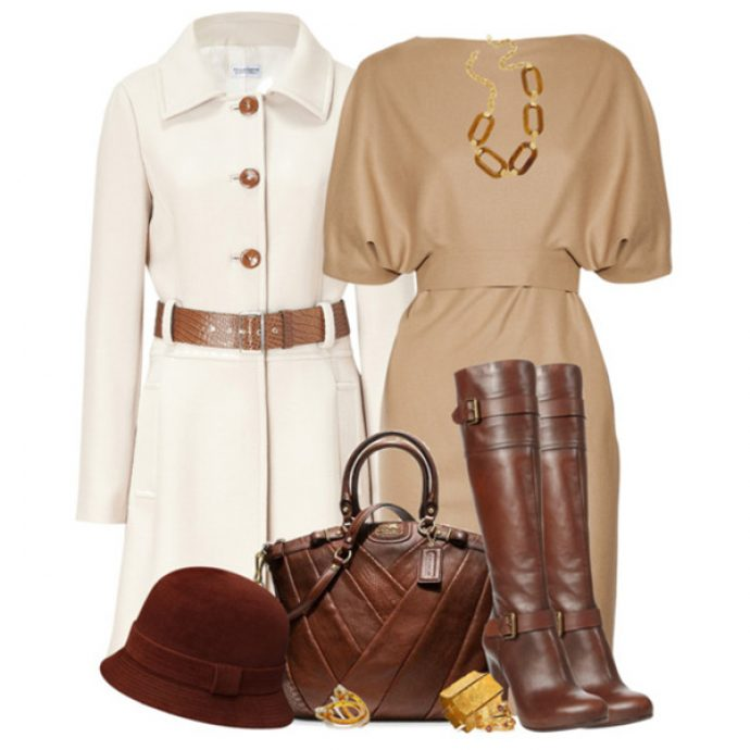 Сочетание предметов гардероба и аксессуаров с коричневыми сапогами